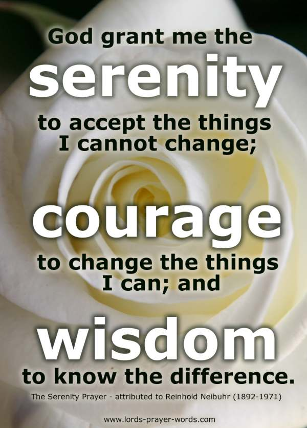 The Serenity Prayer with yellow rose in the background