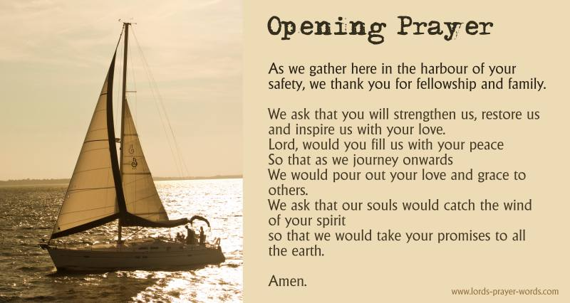 Opening Prayer with picture of a sailing boat