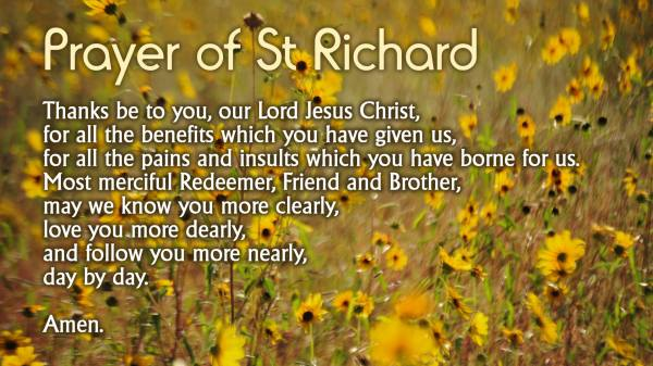 prayer of st richard with wild flowers in the background